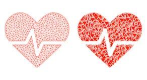 Polygonal trådram Mesh Heart Pulse och mosaisk symbol stock illustrationer