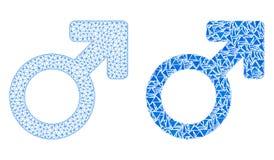 Polygonal trådram Mesh Male Symbol och mosaisk symbol royaltyfri illustrationer