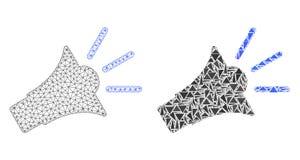Polygonal trådram Mesh Sound Speaker och mosaisk symbol stock illustrationer