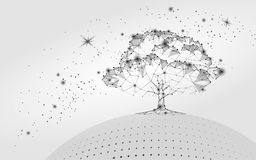 Polygonal tree gray white sky background. Abstract Earth eco globe concept. Connected dot line point art life root  illustra. Tion art Royalty Free Stock Photo