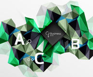 Polygonal triangle abstract background with infographics. Vector 3d mosaic template background for workflow layout, diagram, number options or web design Royalty Free Illustration