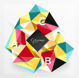 Polygonal triangle abstract background with infographics. Vector 3d mosaic template background for workflow layout, diagram, number options or web design stock illustration
