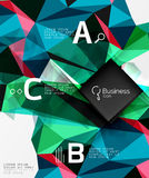 Polygonal triangle abstract background with infographics. Vector 3d mosaic template background for workflow layout, diagram, number options or web design Royalty Free Stock Image
