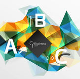 Polygonal triangle abstract background with infographics. Vector 3d mosaic template background for workflow layout, diagram, number options or web design Royalty Free Stock Photography