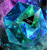 Polygonal triangles and space background Royalty Free Stock Images