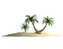 Polygonal triangulated island with palm-tree on white Stock Photo