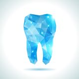 Polygonal turquoise vector tooth. Abstract Royalty Free Stock Photography