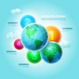 Polygonal värld Infographic Arkivbild