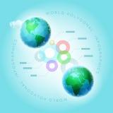 Polygonal värld Infographic Arkivfoton