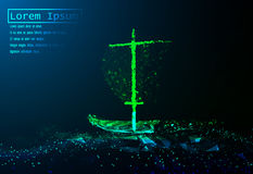 A polygonal vector boat sailing on sea waves. Grid illustration. Concept for business Stock Images
