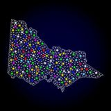 Mesh 2D Map of Australian Victoria with Colorful Light Spots. Polygonal vector map of Australian Victoria with glow effect on a black background. Abstract royalty free illustration