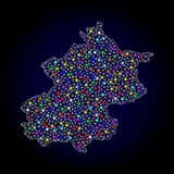 Mesh Wire Frame Map of Beijing Municipality with Colorful Light Spots. Polygonal vector map of Beijing Municipality with glare effect on a black background vector illustration