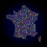 Mesh 2D Map of France with Colorful Light Spots. Polygonal vector map of France with glow effect on a black background. Abstract triangles, lines, light colored stock illustration
