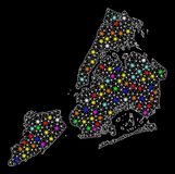 Mesh Wire Frame Map of New York City with Bright Light Spots royalty free illustration