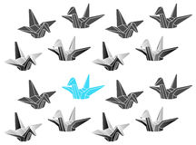 Polygonal Vector Origami Cranes Patten Royalty Free Stock Photography