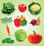 Polygonal vegetables Illustration Royalty Free Stock Images