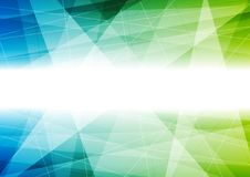 Polygonal vektorbakgrund för blå och grön tech Fotografering för Bildbyråer
