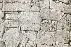 Polygonal walls built from the 7th to the 2nd century BC. The large boulders are interlocked with each other without lime.  royalty free stock photos