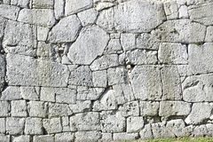 Polygonal walls built from the 7th to the 2nd century BC. The large boulders are interlocked with each other without lime.  stock photo