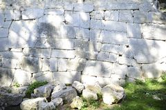Polygonal walls built from the 7th to the 2nd century BC. The large boulders are interlocked with each other without lime. Amelia, Umbria stock photos