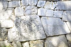 Polygonal walls built from the 7th to the 2nd century BC. The large boulders are interlocked with each other without lime. Amelia, Umbria royalty free stock image