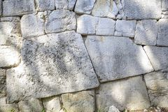 Polygonal walls built from the 7th to the 2nd century BC. The large boulders are interlocked with each other without lime. Amelia, Umbria stock photography