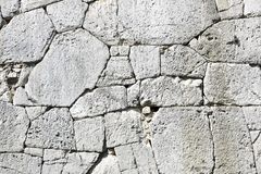 Polygonal walls built from the 7th to the 2nd century BC. The large boulders are interlocked with each other without lime. Amelia, Umbria royalty free stock photography