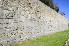Polygonal walls built from the 7th to the 2nd century BC. The large boulders are interlocked with each other without lime. Amelia, Umbria royalty free stock images