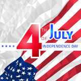 Polygonal waving American flag with congratulations on 4th of ju Stock Photo