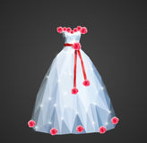 Polygonal wedding dress with shining sequins and a red sash and Stock Photos