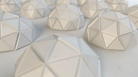 Polygonal white metallic hemispheres 3D rendering stock illustration