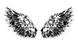 Black mirror wings on white background. Polygonal wings of shiny, faceted, black mirror on white background royalty free illustration