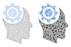 Polygonal Wire Frame Mesh Human Intellect Gear and Mosaic Icon. Mesh vector human intellect gear with flat mosaic icon isolated on a white background. Abstract stock illustration