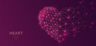 Polygonal wireframe kopplar ihop futuristiskt med hjärta, förälskelsebegreppstecken på mörk bakgrund Vektorlinjer, prickar och tr royaltyfri illustrationer