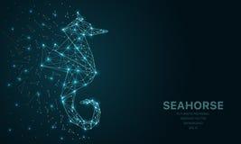 Polygonal wireframe kopplar ihop futuristiskt med seahorsen, tecken på mörk bakgrund Vektorlinjer, prickar och triangelformer vektor illustrationer