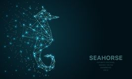 Polygonal Wireframe Mesh Futuristic With Seahorse, Sign On Dark Background. Vector Lines, Dots And Triangle Shapes Royalty Free Stock Images