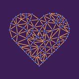 Polygonal wireframehjärta, valentindagvektor Arkivfoto