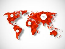 Polygonal world map with infographic elements Royalty Free Stock Photo