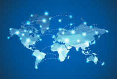 Polygonal World Map with spot lights effect. On blue background presentation Stock Image