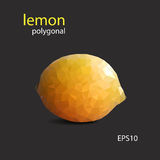 Polygonal yellow lemon  on dark background. Vector picture Royalty Free Stock Images