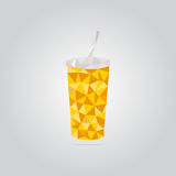 Polygonal yellow paper cup illustration Royalty Free Stock Photos