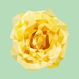 Polygonal yellow rose, polygon flower, isolated vector Royalty Free Stock Photo