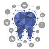 Polygonale blaue Vektorzahnikone mit zahnmedizinischen Ikonen Lizenzfreies Stockbild