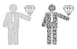 Polygonale 2D Mesh Groom Diamond- und Mosaik-Ikone stock abbildung