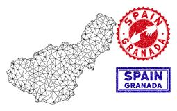 Polygonale Draht-Rahmen-Granada-Provinz-Karten-und Schmutz-Stempel vektor abbildung