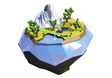 Polygonale Fliegeninsel mit Bergen, Bäume, Fluss und Haus, lokalisiert auf Weiß Niedrige Polylandschaft Abbildung 3D Stockfotografie