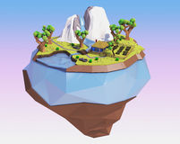 Polygonale Fliegeninsel mit Bergen, Bäumen, Fluss und Haus Niedrige Polylandschaft Abbildung 3D stock abbildung