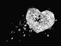 Polygonale Grafik des defekten Herzens in Schwarzweiss Lizenzfreie Stockfotos