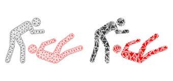Polygonale Karkasse Mesh Judo Struggle und Mosaik-Ikone lizenzfreie abbildung