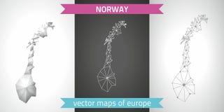 Polygonale Karten grauen Vektors Norwegens Lizenzfreie Stockfotografie